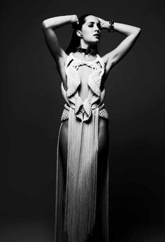 Sculptural Fashion - fringe dress with structured macrame bodice; wearable art // Eleanor Amoroso