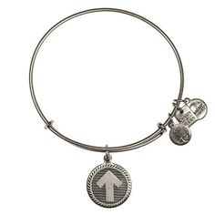 Alex and Ani Stand Up Charm Russian-Silver Expandable Bangle Bar Bracelet
