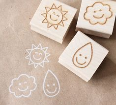 rubber, stamps, etsy, weather, rain, sun, cloud, wooden, handmade, crafts