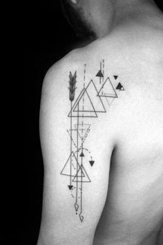 40 Geometric Arrow Tattoo Designs For Men - Sharp Geometry Ideas - The Best Geometric Space Tattoos - Planet Tattos Ideas Arrow Tattoos, Back Tattoos, Line Tattoos, Arm Tattoos For Guys, Sleeve Tattoos, Geometric Tattoo Shoulder, Geometric Line Tattoo, Geometry Tattoo, Geometric Compass