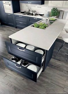 40 Ingenious Kitchen Cabinetry Ideas and Designs 45 Suprising Small Kitchen Design Ideas And Decor . Split - Kitchen Detail White and timber, bl. Contemporary Kitchen Cabinets, Kitchen Cabinetry, Kitchen Flooring, Kitchen Countertops, Kitchen Cabinet Layout, Contemporary Kitchens, L Shaped Kitchen Cabinets Layout, Contemporary Decor, Kitchen With Blue Cabinets