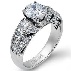 Simon G. Vintage Style Floral Diamond Engagement Ring