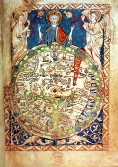 Psalter map (Londoner Psalterkarte) A map of the world, with Jerusalem at the centre and the monstrous races on the outermost edge  1200 1250