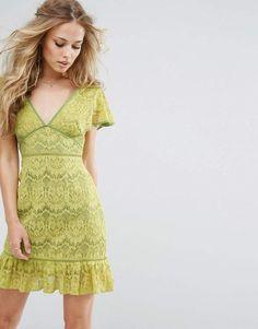 3b7fa0195a Foxiedox Plunge Front Lace Dress Yellow Midi Dress