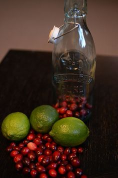 Fancy Napkin: .cranberry lime vodka.  Takes 2 weeks - 2 months to infuse flavors into the vodka. Gift idea.