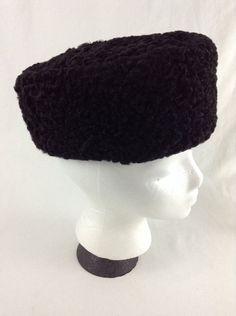bc5c4fe1efc9e Womens  Mens KARAKUL Black PERSIAN LAMB Cossack RUSSIAN Fur WINTER HAT  Pillbox S - SOLD