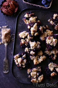 Mixed Berry Crumb Bars with pecans, brown sugar, and cinnamon - berry bliss!