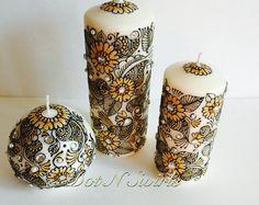 Set of 3 henna candles,handcrafted with 100% henna paste/ henna candles/wedding centerpiece/bohemian decor/ henna design/rustic decor/henna