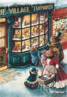 Hilde Van der Auwera uploaded this image to 'Kerstafbeeldingen/Christmas Art/Susan Wheeler'. See the album on Photobucket. Susan Wheeler, Christmas Scenes, Christmas Pictures, Christmas Art, Christmas Shopping, Christmas Bunny, Family Christmas, Illustration Noel, Christmas Illustration