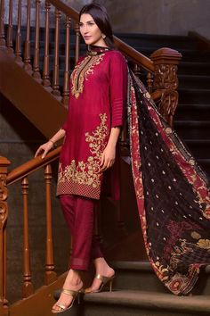 Buy this semi formally luxury Maroon Pakistani prêt wear Ready to Wear Unstitched 3 Piece Pakistani Dress by Zeen Cambridge Eid Collection 2017 online shopping   #Alkaram #Zeen #Pret #Pretwear #Readytowear #Style #love #Eid #2017 #fashion #women #3piece #pakistani #Pakistan #bridal #prom #dinner #date #wear #dress #brand #designerwear #designer