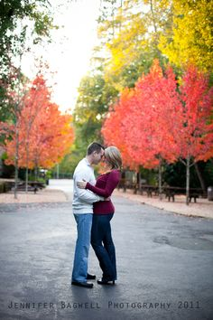Fall time engagement photo