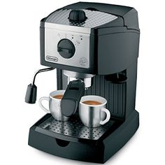 With the De'Longhi EC155 15 BAR Pump Espresso and Cappuccino Maker you have the option of using convenient pods or ground coffee with the patented dual function filter holder. Other features include eliminating start-up preparation with the EC155's self-priming operation.  Now you can enjoy an espresso or cappuccino at the perfect temperature thanks to the two separate thermostats which allows for water and steam pressure to be controlled separately.