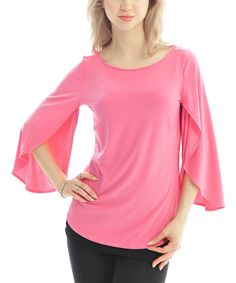 Take a look at the Pink Cape-Sleeve Top on #zulily today!