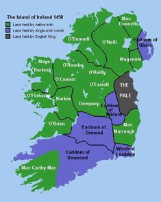 Gaelic Ireland - Ireland in 1450 showing lands held by native Irish (green), the Anglo-Irish (blue) and the English king (red). Ireland Map, Ireland Travel, Ireland Facts, British Isles, Northern Ireland, Family History, Instagram, Historical Maps, Celtic