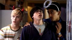 """Be good. Fuck it. Be bad!"" Maxxie, Sid & Anwar (Skins - Series 1 & 2) Mitch Hewer, Mike Bailey and Dev Patel"