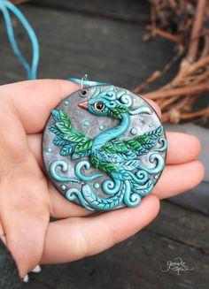 Blue Phoenix Medallion - phoenix bird pendant - necklace - fantasy jewelry - wiccan amulet - green silver - polymer clay - sky bird - ooak fimo art - hadmade - by GloriosaArt