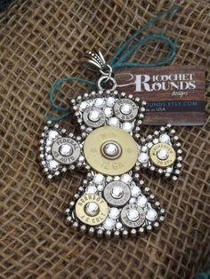 Bullet Jewelry - Bullet Pendant Filled w/ Bullets & Swarvoski Crystals on Beaded Cross on Etsy, $39.95
