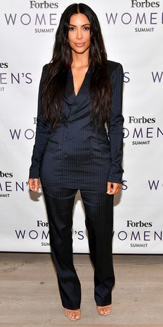 We're in love with Kim Kardashian West's look at the 2017 Forbes Women's Summit. She wore a perfectly tailored luxe sheen suit with just a pair of nude sandals for a minimalist glam look. Looks Kim Kardashian, Kardashian Style, Kardashian Jenner, Kourtney Kardashian, Kardashian Family, Kardashian Kollection, Kylie Jenner, Moda Formal, Kim K Style