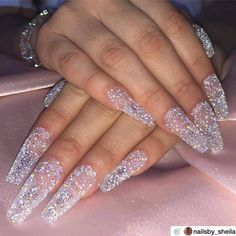 Want to know how to do gel nails at home? Learn the fundamentals with our DIY tutorial that will guide you step by step to professional salon quality nails. Ongles Bling Bling, Bling Nails, Glitter Nails, Bling Wedding Nails, White Acrylic Nails With Glitter, Acrylic Nail Designs Glitter, Sparkle Nails, Glitter Acrylics, Glitter Dress