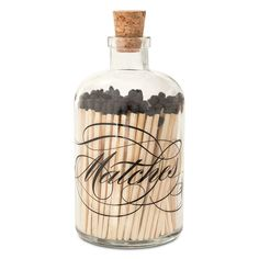 """Our new apothecary match bottles are an updated option to our classic style. The large Calligraphy bottle is silk-screened with the word """"Matches"""" in a beautifully ornate design. The bottles feature o Glass Bottles With Corks, Small Bottles, Mini Bottles, Gold Bottles, Candle Accessories, Apothecary Bottles, Bottle Design, Gift Store, Beauty Essentials"""