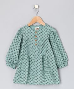 kite kids girls Aqua & Walnut Pleated Organic Tunic - Toddler & Girls