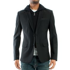 "PHILIPP PLEIN - MEN ""Manchester"" Slim Fit Black Hooded Blazer Jacket"