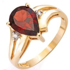 ON SALE NOW Solid 10K Yellow Gold, Genuine Diamond & Garnet Ring RRP $430 (Comes with tag)
