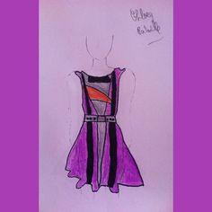 #1 #look at my #purple #dress #fashion #drawing of a #cute #purple #black #stripes #orange & #grey #geometric #girl #woman #dress. #fashiondrawing #illustration #fashionillustration #sketch #fashionsketch #elegant #chic #vintage #2016 #mode #style #retrica #squarepic #piclab #dressdrawing #dressillustration #purpledress