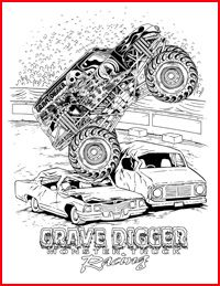 monster jam colouring pages free