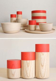 Wooden canisters from Japanese label Mute on Poppytalk