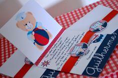 Convite Personalizado no tema Urso Marinheiro. <br> <br>Personalizamos em qualquer tema.
