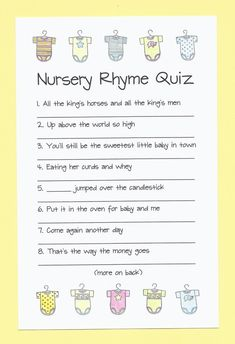 Nursery Rhyme Quiz Baby Shower Game - Name the Nursery Rhyme Baby Shower Game, N.- Nursery Rhyme Quiz Baby Shower Game – Name the Nursery Rhyme Baby Shower Game, N… Nursery Rhyme Quiz Baby Shower Game – Name the Nursery… - Baby Shower Simple, Easy Baby Shower Games, Baby Shower Parties, Baby Shower Themes, Shower Ideas, Baby Showers, Bany Shower Games, Unisex Baby Names, Boy Names
