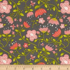 It's A Bird's Life Floral Iron from @fabricdotcom  Designed by Heather Rosas for Camelot Fabrics, this fabric is perfect for quilting, apparel and home decor accents. Colors include light grey, light pink, dark pink, grass green, light green, and lime on a dark grey background.