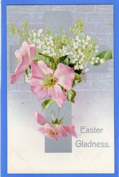 OLD VINTAGE MISCH & CO POSTCARD EASTER GLADNESS CROSS FLOWERS SYMBOL OF FAITH | eBay