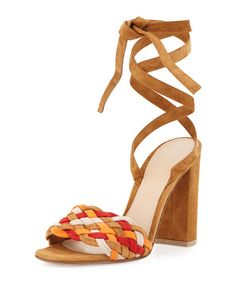 S0GWN Gianvito Rossi Woven Suede Ankle-Wrap Sandal, Almond Spritz