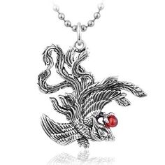 925 Sterling Silver Phoenix Gemstone Pendant Necklace
