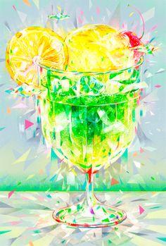 メロンクリームソーダ Cocktails For Two, Fancy Drinks, Anime Scenery Wallpaper, Galaxy Wallpaper, Food Illustrations, Illustration Art, Melon Soda, Cream Soda, Kawaii Art