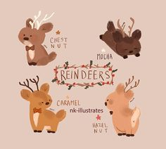 "nk-illustrates: ""Reindeers. """