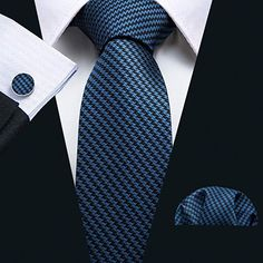 Silk Tie Set Color: Blue and Black Length, Width Matching cufflinks and pocket square Pocket Square Styles, Tie And Pocket Square, Pocket Squares, Mens Fashion Suits, Mens Suits, Fashion Fashion, Black Suit Combinations, Black Suit Men, Suit And Tie