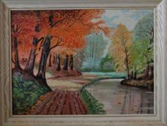 Oil Painting Autumn River Scene by Fred Clements