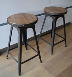 Cafe Style adjustable Stool urban vintage industrial rustic - Aged Rust…