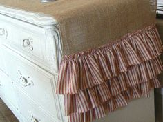 Burlap Christmas Table Runner with Red Stripe by ShabbieChicHome