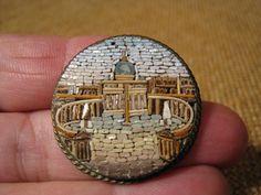 ███►uralte Brosche aus Mosaiksteinen gefertigt um 1860