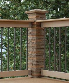 ‿✿⁀Outdoor Living‿✿⁀ ~~Dress up deck railings by adding faux stone post cover and cap. This would be a great project and could use many different ideas. Outdoor Spaces, Outdoor Living, Deck Railings, Railing Ideas, Iron Railings, Decks And Porches, Front Porches, Deck Design, Faux Stone