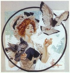 View A woman with doves by Joseph Christian Leyendecker on artnet. Browse upcoming and past auction lots by Joseph Christian Leyendecker. Art And Illustration, American Illustration, Kunst Inspo, Art Inspo, Norman Rockwell, Traditional Paintings, Traditional Art, Jc Leyendecker, Les Oeuvres