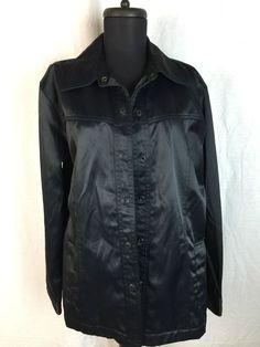 Gap Blue Jeans Black Satin Shiny Jacket size L #Gap #BasicJacket