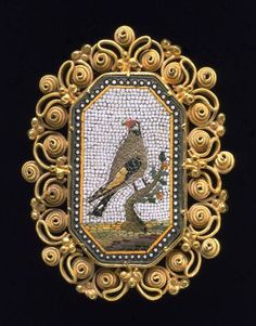Brooch Place of origin: [Italy] (made) Date: 1820-30 (made) Artist/Maker: unknown (production) Materials and Techniques: Micromosaic panel (glass tesserae) set in silver-gilt filigree Credit Line: Given by Dame Joan Evans Museum number: M.35-1962 Gallery location: Jewellery, room 91, case 18, shelf D, box 4
