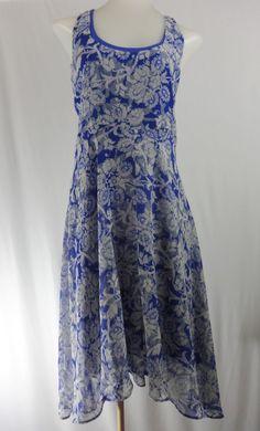 CABI M Blue Floral Sleeveless 2 Layer Asymmetrical Hem Dress  #CAbi #AsymmetricalHem #Casual