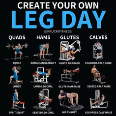 CREATE YOUR OWN LEG DAY-If you want to create your own workout, now's your chance. Here's a list of exercises you can do on leg day for all muscles of the leg including quads, hamstrings, glutes and calves!-Just follow these simple steps for making your leg day:⠀1. PICK 1-2 EXERCISES PER BODY PART2. CHOOSE SOMEWHERE BETWEEN 2-4 SETS OF 4-15 REPS (DEPENDING ON IF IT'S A STRENGTH DAY (4-8 REPS) OR HYPERTROPHY DAY (8-15 REPS)).-THAT'S IT! Follow those steps and you'll have a great set of legs!...