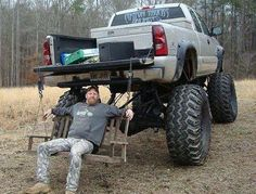 Another awesome thing you can only do with a lifted truck Jacked Up Trucks, Cool Trucks, Big Trucks, Pickup Trucks, Cool Cars, Tow Truck, Muddy Trucks, Redneck Humor, Redneck Trucks